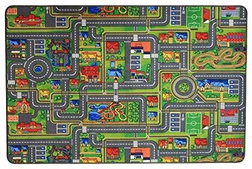 Primaflor - Ideen in Textil Kinderteppich Streets - 0,95m x 2,00m - Schadstoffgeprüft, Anti-Schmutz-Schicht, Auto-Spielteppich für Jungen & Mädchen, Verkehrsteppich