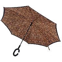 ToxTech C-Hook Umbrella, Pelle di leopardo doppio strato antivento ombrello creativo invertito Mani viaggio Ombrelli