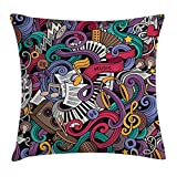 VICKKY Doodle Throw Pillow Cushion Cover, Music Themed Hand Drawn Abstract Instruments Microphone Drums Keyboard Stradivarius, Decorative Square Accent Pillow Case, 18 X 18 Inches, Multicolor