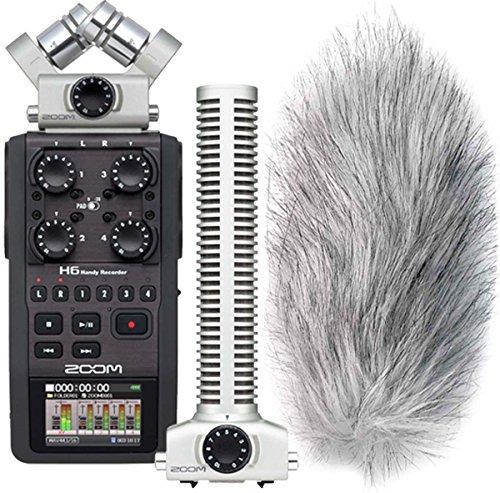 Zoom H6 Handy Recorder + SGH-6 Shotgun Mikrofon + KEEPDRUM WS-WH Fell-Windschutz