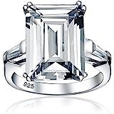 Matrimonio nuziale in stile Art Deco Grande Zirconia cubica 10CT14k placcato oro .925 Sterling Silver Solitaire Emerald Cut c