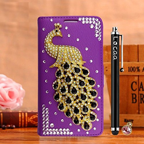 """Locaa(TM) For Apple IPhone 6S Plus 6S IPhone6S+ 5.5"""" 3D Bling Paon Case Coque Fait filles Cuir Qualité Housse Chocs Étui Couverture Protection Cover Shell Romantique [Paon 2] Blanc - Paon Perle Violet - Paon Noir"""
