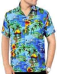 La Leela hawaii aloha surfeurs millésime manches courtes bouton coupe régulière vers le bas shirt hommes xs bleu - 5xl