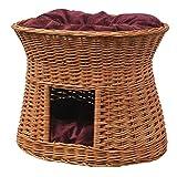 2-81-5 Ovale Katzenhöhle aus Weide von GalaDis. Mit zwei Kissen. Ein Katzenkorb für Ihre Katze zum Ruhen und Spielen. (Wendekissen)) - 4