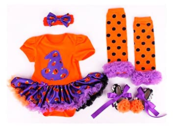 baby girl halloween witch tutu romper fancy dress costume set 03 months