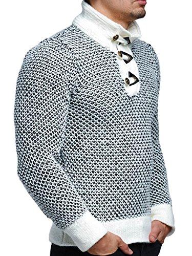 Pullover Herren Strickpullover Tazzio Grobstrick Feinstrick Optik zweifarbiger Stoffmix Ecru