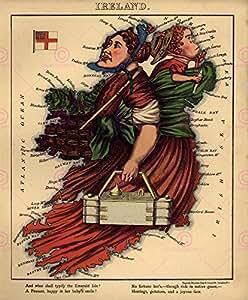 Map Antique 1869Harvey Aleph Ireland Cartoon Large Replica Poster Print pam0348