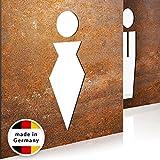 INOXSIGN Vintage WC-Schilder Set T01R – Selbstklebend – Retro Toilettenschilder – klar erkennbares Design – werkzeuglose Montage – beinhaltet Herren- & Damen Kloschild – Shabby chic – Made in Germany