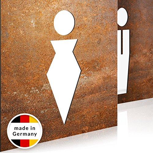 INOXSIGN Vintage WC-Schilder Set T01R - Selbstklebend - Retro Toilettenschilder - klar erkennbares Design - werkzeuglose Montage - beinhaltet Herren- & Damen Kloschild - Shabby chic - Made in Germany Damen-montage