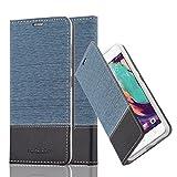 Cadorabo Hülle für HTC Desire 10 Pro - Hülle in Dunkel Blau Schwarz – Handyhülle mit Standfunktion und Kartenfach im Stoff Design - Case Cover Schutzhülle Etui Tasche Book