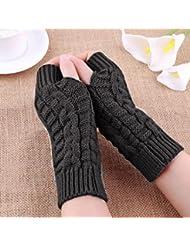 Guantes de Punto sin Dedos para Mujer, LILICAT - Manoplas Mitones Invierno Cálido Suave (Gris, Un Tamaño)