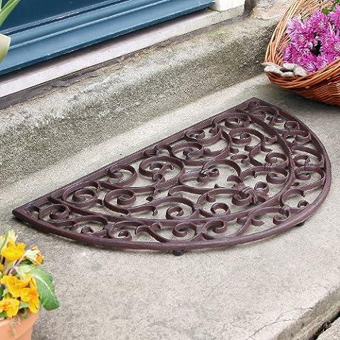 Traditional Heart Half Moon Cast Iron Door Mat 46 x 71cm