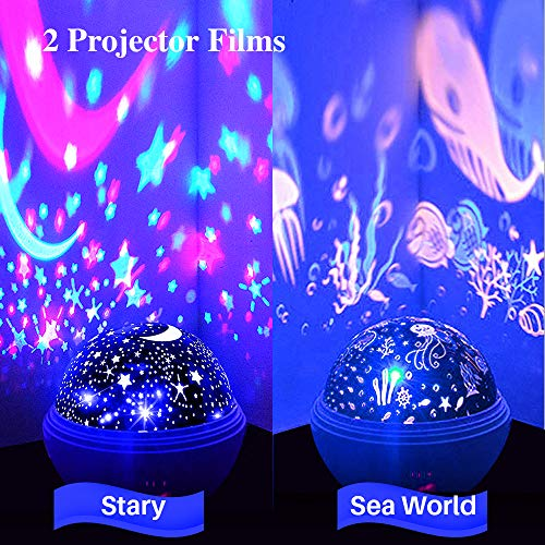 TekHome 2019 New Star Lights Projector for Kids, LED 360° Rotating Ocean Baby Night Light Projector, Toys for 3-12 Year Old Girls Boys, Best Birthday Gifts, 2 Themes, 8 Colours, 48 Effects.