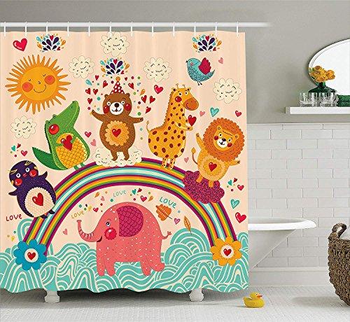 KRISTI MCCARTNEY Cartoon Decor Collection, Happy Animals Bear Lion Elephant Crocodile Birds on Rainbow Children Drawing Effect, Polyester Fabric Bathroom Shower Curtain, 75 Inches Long, Orange Green