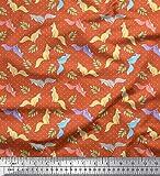 Soimoi Orange Mousse Georgette en Tissu Dot, Feuilles et Renard Animal Tissu a Coudre Imprime par Metre 42 Pouce Large