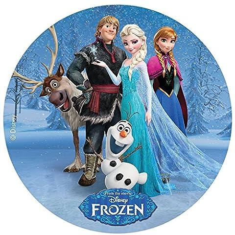 Disque azyme Reine des neiges pour décoration de gâteau - Modèle Ana Elsa Olaf Sven - 20cm