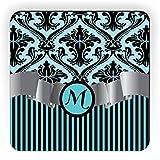 "Rikki Knight Letter ""M"" Initial Sky Blue Damask and Stripes Monogrammed Design Square Fridge Magnet"