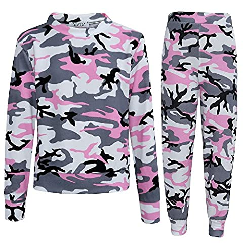 New Camouflage Print Lounge wear Girls Tracksuit Kids Jogging Suit (Baby Pink Camouflage, 13 Years)