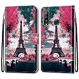 Nadoli Bunt Leder Hülle für Huawei P30 Lite,Cool Lustig Tier Blumen Schmetterling Entwurf Magnetverschluss Lanyard Flip Cover Brieftasche Schutzhülle mit Kartenfächern