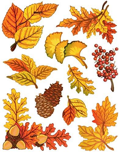 dpr. Fensterbild Set 10-TLG. Herbst Blätter Ahorn Eiche Ginkgo Eicheln Zapfen Laub mit Glimmer Fenstersticker Fensterdeko Herbstdeko