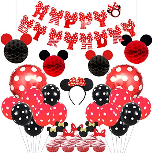 Kreatwow Mickey und Minnie Party Supplies rote und Schwarze Ohren Stirnband Happy Birthday Banner Polka Dot Ballons Set für Minnie Mouse Partydekorationen