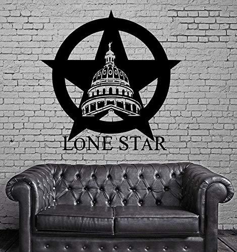 Texas Lone Star Cowboy State USA Karte Dekoration Wandbild Vinyl Kunst Aufkleber Home Schlafzimmer Wohnzimmer Dekor 57 * 73 cm -