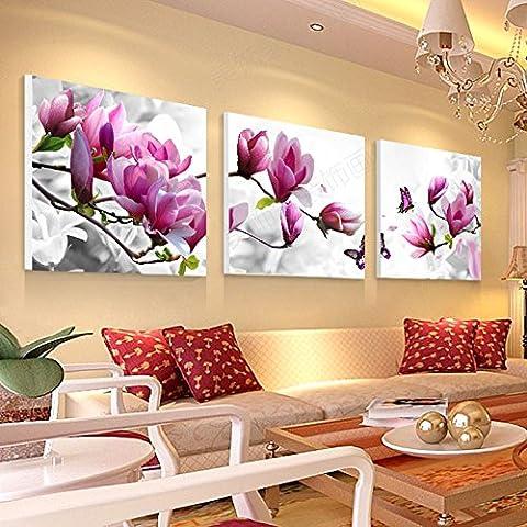 Pingofm Décoration moderne, fresques de peinture dans la salle de séjour chambre lit peinture murale pendaison photo sans cadre animation peinture de fleur estampes Triple peinture décorative,30*30cm,D