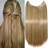 Haarteil Extensions 1 Tresse Haarverlängerung Synthetische Haare Haarverdichtung Glatt 50cm-90g #12/24 Honigbraun/Mittelblond