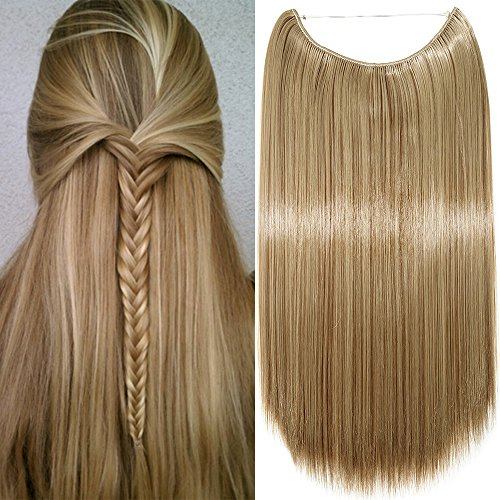 Extension per capelli lunghi lisci fascia unica con filo invisibile 50cm - one piece hair extensions 3/4 full head, biondo cenere mix marrone chiaro