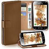 moex Samsung Galaxy Ace 2 | Hülle Braun mit Karten-Fach 360° Book Klapp-Hülle Handytasche Kunst-Leder Handyhülle für Samsung Galaxy Ace 2 Case Flip Cover Schutzhülle Tasche
