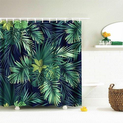 Nibesser Pflanzen Blätter Duschvorhang Anti-Schimmel Bad Vorhang Wasserdicht Badewannenvorhang Waschbarer Textil 180*180cm Grün (Bad Blatt)