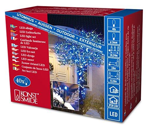Konstsmide 3610-400 Micro LED Lichterkette / für Außen (IP44) /  24V Außentrafo / 40 blaue Dioden / schwarzes Kabel