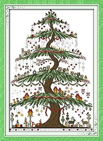YEESAM ART Neu Kreuzstich Stickpackung - Xmas Weihnachten Baum 14 CT 48×66 cm DIY Stickerei Set Weiß Segeltuch - Kreuz Nähen Handarbeit Weihnachten Geschenke Cross Stitch (Designer Christmas Tree Topper)