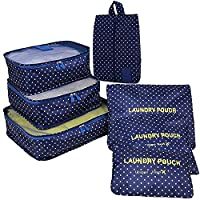 Ubagoo 7 Piece Set Travel Luggage Organiser Bags Travel Essentials Packing Cubes Cosmetics Underwear Clothes Shoes Storage Bag Pouch Organizers (Deep Blue)