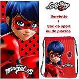 Asciugamano di bain- spiaggia Miraculous ladybug + 1 sacchetto di spiaggia o sacchetto di sport 20 x 24 cm