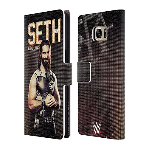 Head Case Designs Offizielle WWE Seth Rollins Superstars Leder Brieftaschen Huelle kompatibel mit Samsung Galaxy S7 Edge (Wwe In Der Edge)