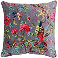 "Riva Paoletti Paradise Square Cushion Cover - Mink Purple - Colourful Bird Print - Faux Velvet Fabric - Machine Washable - 100% Cotton - 50 x 50cm (20"" x 20"" inches) - Designed in the UK"