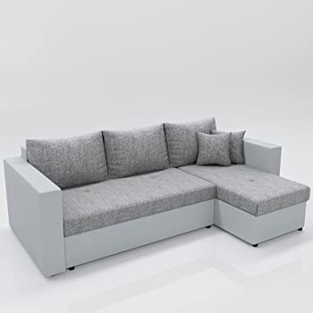 Oskar Ecksofa Mit Schlaffunktion Grau Weiß Stellmaß 224 X 144 Cm