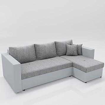 Ecksofa grau weiß  Ecksofa mit Schlaffunktion Grau Weiß - Stellmaß: 224 x 144 cm ...