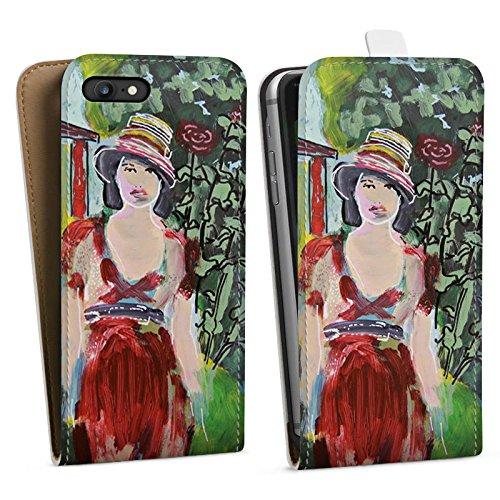 Apple iPhone X Silikon Hülle Case Schutzhülle Frau Blumen Zeichnung Downflip Tasche weiß