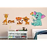 Wallstick 'Happy Joy Animals-1' Wall Sticker (Vinyl, 49 cm x 4 cm x 4 cm)