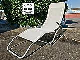 EUROLANDIA 90633 - Sdraio Basculante da Giardino o Spiaggia Bianco Panna Robusta (Norme 581) Marcata