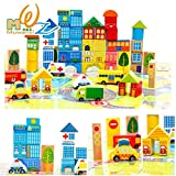 #2: Happy GiftMart 62 PcsWooden City Building Blocks ,Multi Color