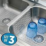 mDesign Set da 3 Tappetini per lavello cucina – Perfetti accessori cucina anti-graffio per il vostro lavandino – Tappetini lavandino in PVC - trasparente