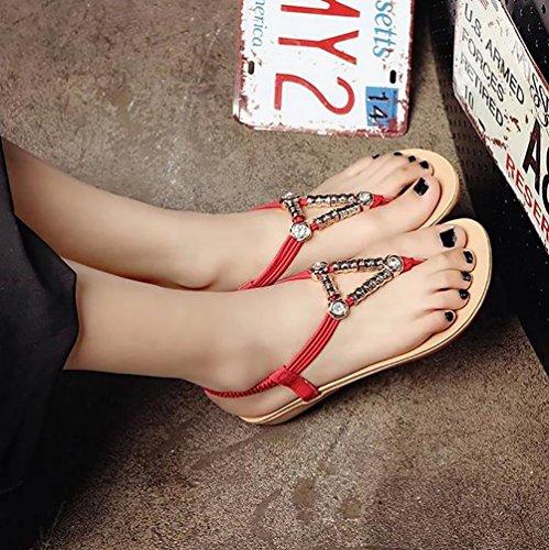 YOUJIA Clip Toe Sandales Casual Triangle Métal Perles Roman Plat Sandales Chaussures Femme Rouge