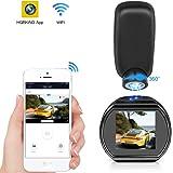 Kfz-Dashcam WiFi Mini Dashcam HQBKiNG FHD 1080P Auto Armaturenbrett Kamera mit Nachtsicht magnetisch 360° drehbar Ständer G-Sensor Loop Aufnahme Parkmonitor, Support Card 128 G Max