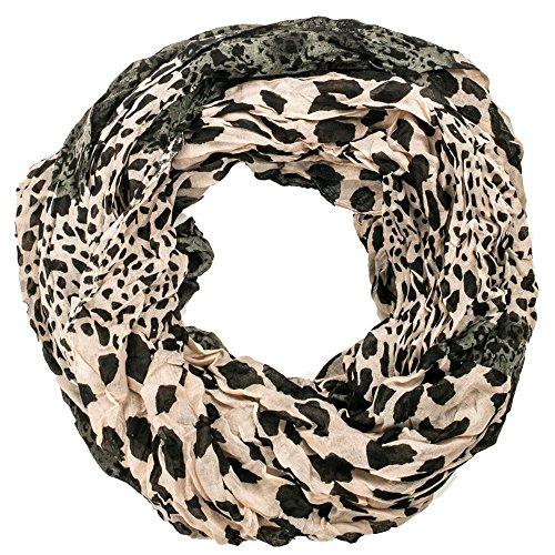 Gadzo Loop schal leopard Muster Look schlauchschal leopard Rundschal grau LoopL0208