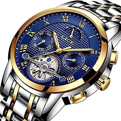 Relojes Hombre Relojes de Pulsera de Lujo Marea Cronometro Impermeable Calendario Analogicos Cuarzo Relojes de Hombre Deportivo Casual Clásicos Multifunción Luminoso con Correa de Cuero Relojes