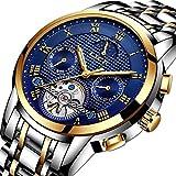 Herren Uhren,LIGE Automatik Mechanische Armbanduhren Edelstahl Wasserdichte Datum Kalender Mondphase Kleid Uhr Mode lässig Skelett Tourbillon Uhr Gold blau