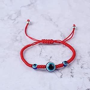 QY-NINHAO Protezione per gli occhi diabolici turchi Kabbalah Braccialetti con cordino rossi Gioielli a mano Fatima